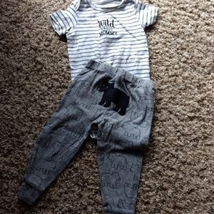 "Carter's ""Wild About Mommy"" Onesie and Bear Pants"
